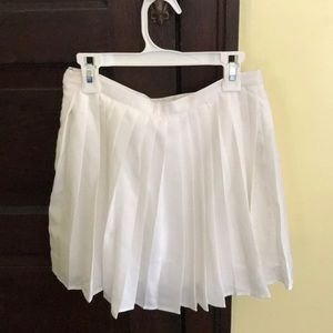 White Pleated Skirt.
